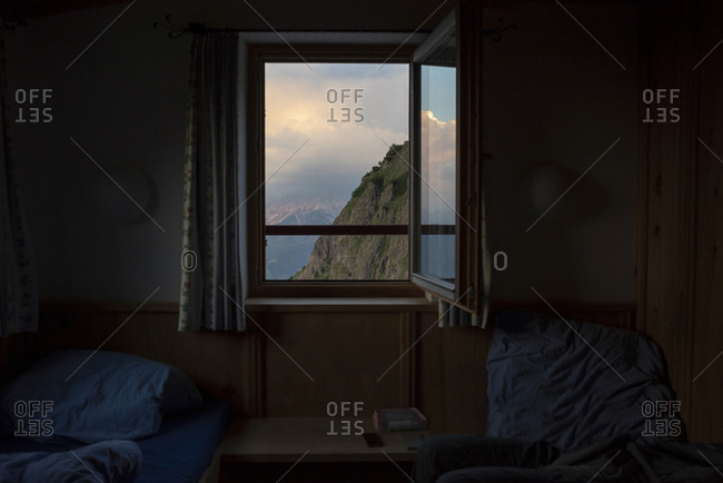 Austria- Tyrol- Fieberbrunn- view out of bedroom of a mountain hut on mountain