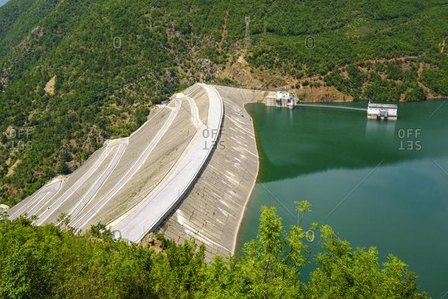Albania- Shkoder- Drin river- dam wall of Fierza reservoir- Liqeni i Fierzes