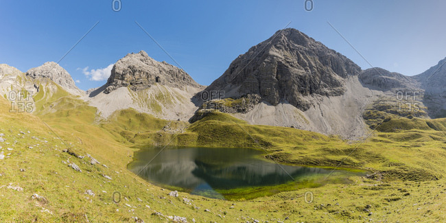Germany- Bavaria- Allgaeu- Allgaeu Alps- Lake Rappensee- Hochgundspitze and Rappenseekopf