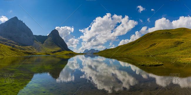 Germany- Bavaria- Allgaeu- Allgaeu Alps- Lake Rappensee- Hochrappenkopf and Kleiner Rappenkopf