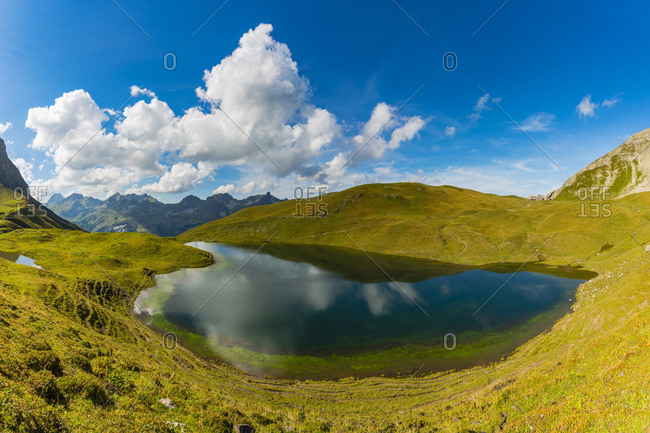 Germany- Bavaria- Allgaeu- Allgaeu Alps- Lake Rappensee- right Rappensee hut