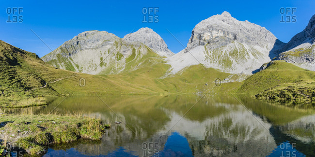 Germany- Bavaria- Allgaeu- Allgaeu Alps- Lake Rappensee- Linkerskopf- Rothgundspitze and Hochgundspitze