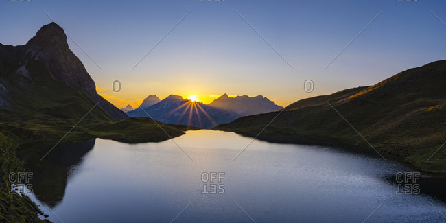 Germany- Bavaria- Allgaeu- Allgaeu Alps- Lake Rappensee- Kleiner Rappenkopf at sunset
