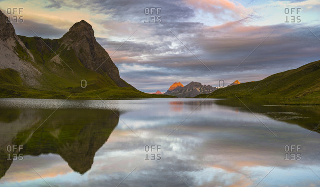 Germany- Bavaria- Allgaeu- Allgaeu Alps- Lake Rappensee- Kleiner Rappenkopf at sunrise