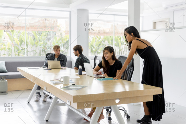 Creative business team working in coworking office