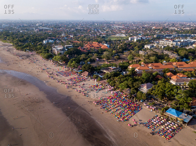October 9: aerial view of Seminyak beach in Bali, Indonesia