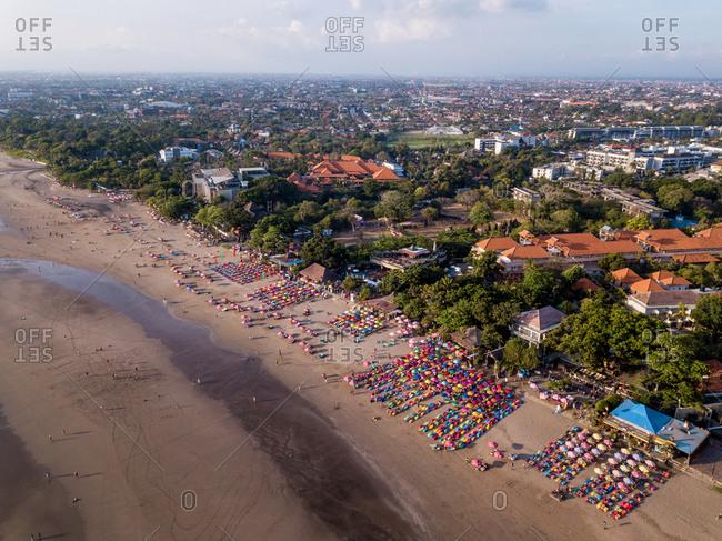 October 9: aerial view of Seminyak beach in Bali, Indonesia
