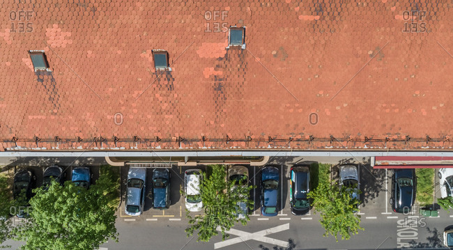 Croatia -  April 28, 2018: Aerial view rooftop and car parked in town.
