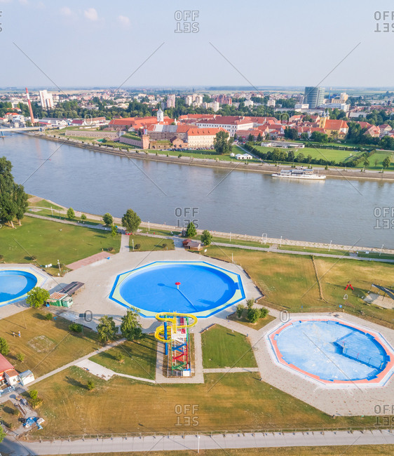 Aerial view of slide and pool in abandoned water park in Osijek, Croatia.