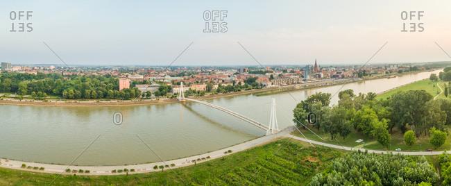 Croatia - May 27, 2018: Panoramic aerial view of Osijek and the Drava river.