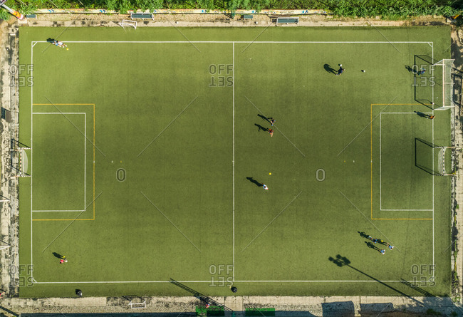 Croatia -  June 6, 2018: Aerial view of a football training on synthetic surface football pitch on a summer day.