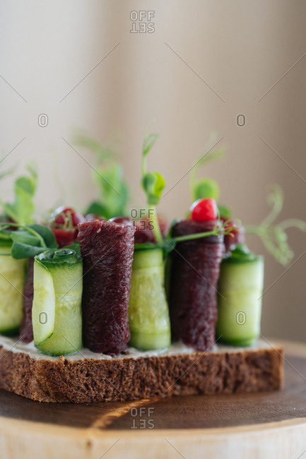 Gourmet cucumber and meat dish