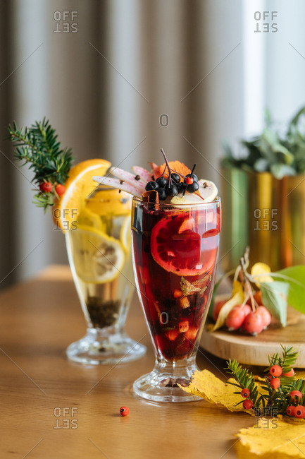 Fruity cocktails with berries and lemons