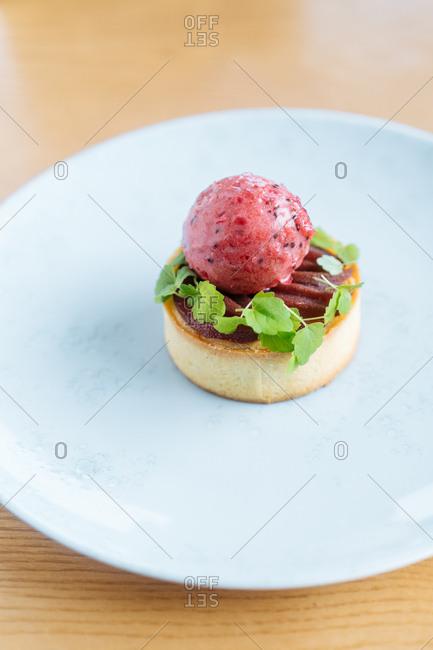 Gourmet dessert dish