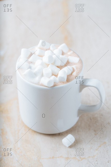 Hot cocoa topped with marshmallows
