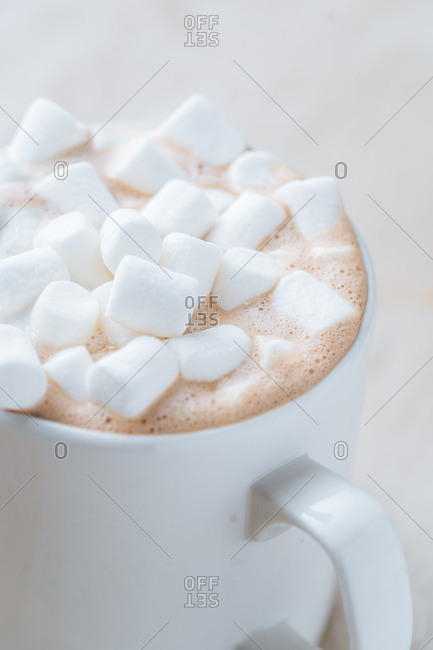 Close up of hot cocoa topped with marshmallows