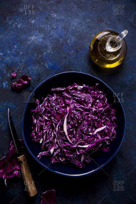 Bowl of chopped red cabbage