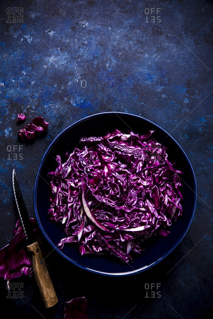 Overhead shot of chopped red cabbage