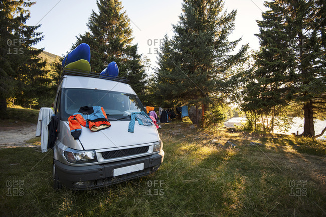 Van with kayaks and clothes, Lofoton Islands, Norway