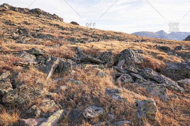 Rocky landscape of Rocky Mountain National Park landscape in Colorado