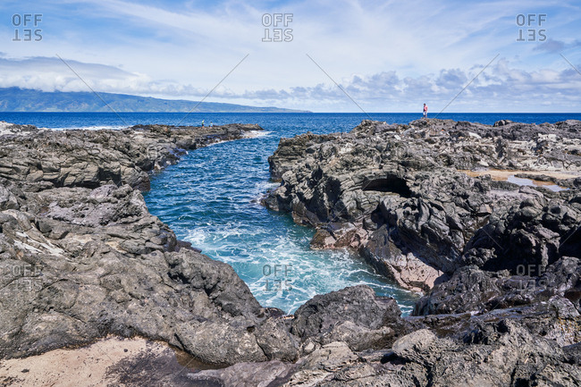 Maui, Hawaii - October 4, 2018: Tourists on the coast of Maui, Hawaii