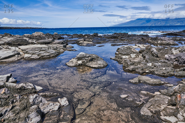 Rocky coast and tide pools of Maui, Hawaii