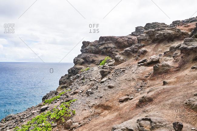 Rocky cliff on the island of Maui, Hawaii