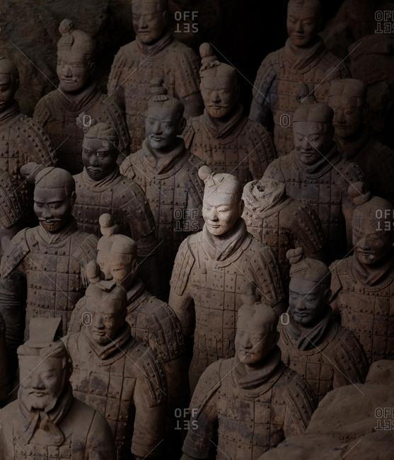 Xian, China - March 26, 2016: Sunlight on sculptures of terracotta warriors