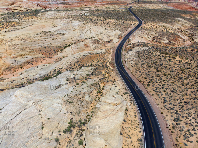 Aerial view of road through Valley of Fire State Park
