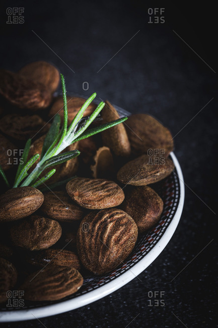 Dried fruits with white background. Nuts; almonds; cashew nuts; macadamia nuts