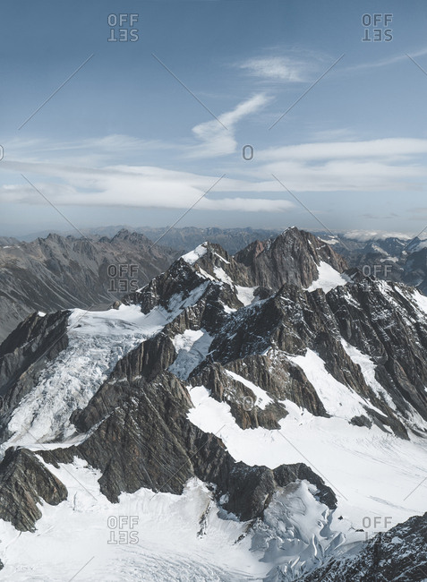 Amazing aerial view of magnificent Aoraki Mountain covered with snow