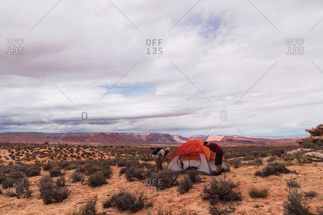 Travelers at tent in Grand Canyon