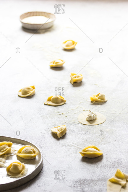 Perspective view of composed uncooked tortellini on floured table in daylight