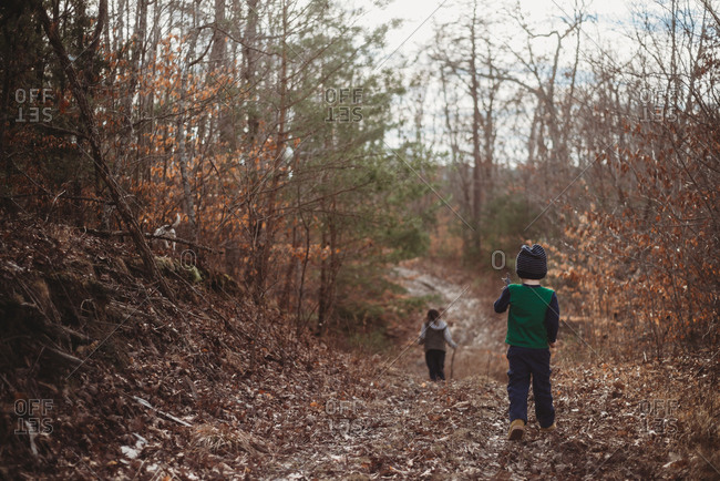Children walking on country path covered in brown leaves