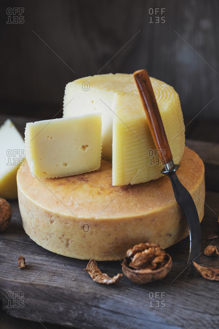 Cheese on a wooden rustic table