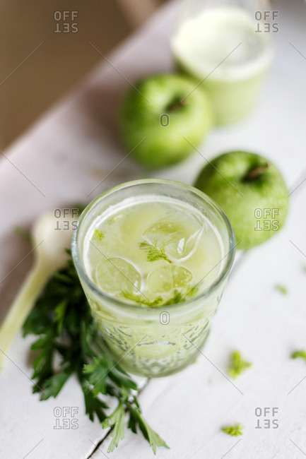 Fresh apple drink served in glass