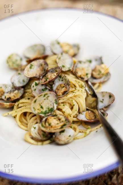 Dish with freshly cooked clams over spaghetti noodles