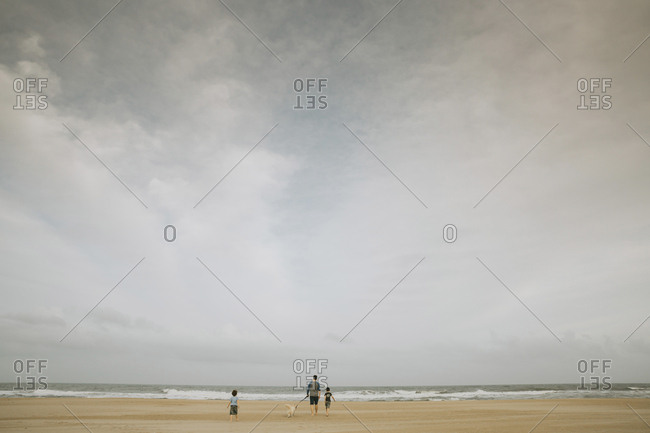 Rear view of family with dog walking at beach against cloudy sky