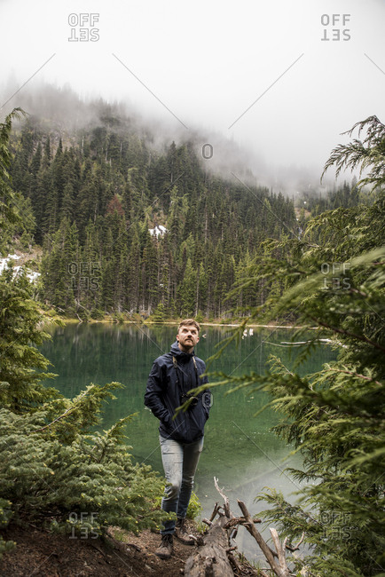 Male hiker looking away while standing at lakeshore against trees in Olympic National Park