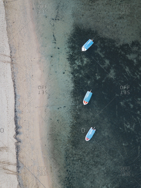 High angle view of boats moored on sea at Bali