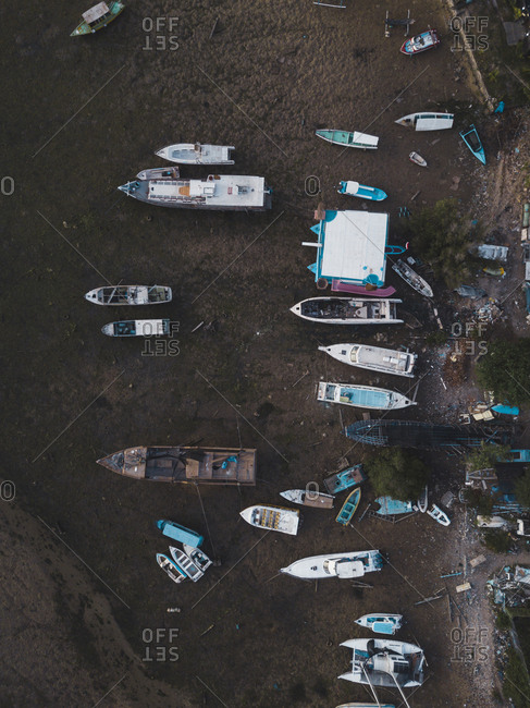 High angle view of boats moored at beach in Bali