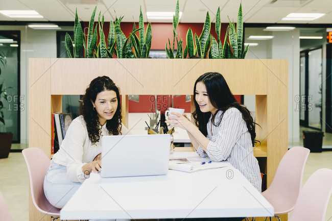 Female entrepreneurs discussing over laptop computer while sitting at desk in office
