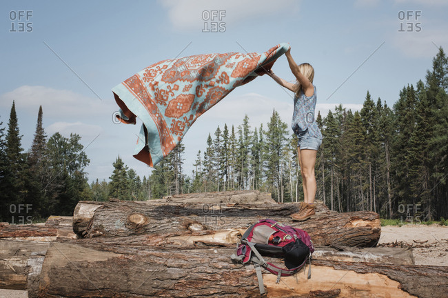 Side view of woman placing blanket on logs against sky in forest