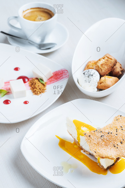 Dessert dishes served with coffee