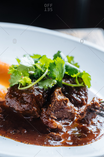 Close up of dish with cooked beef topped with fresh cilantro