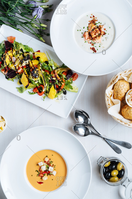 Gourmet soups and salad served with bread