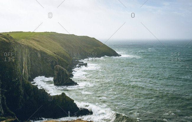 Cliffs overlooking the ocean in County Cork Ireland
