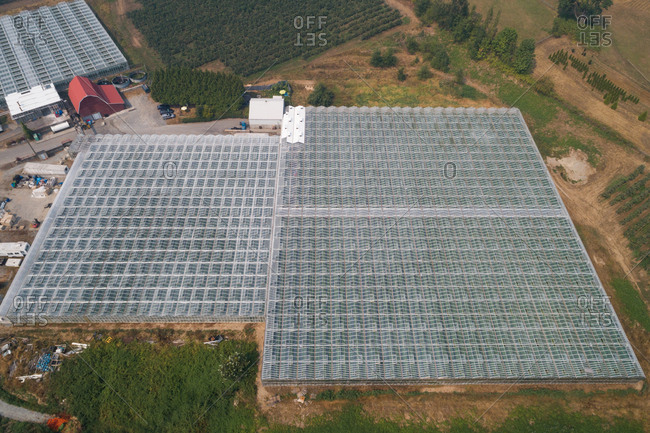 Aerial of roof of greenhouse