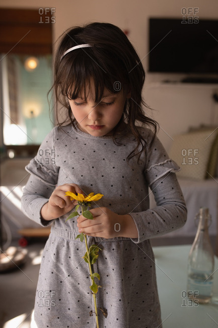 Innocent girl holding a flower at home