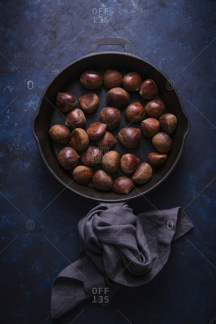 Chestnuts in cast iron pan